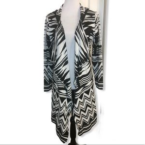 Brittany Black Abstract Print Hooded Cardi…